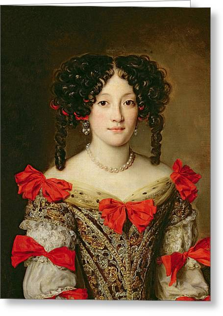 Ribbon Greeting Cards - Portrait of a Woman Greeting Card by Jacob Ferdinand Voet