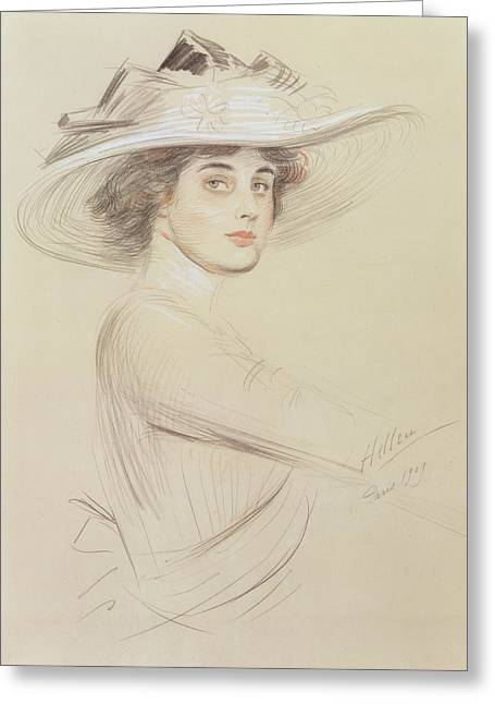Signature Pastels Greeting Cards - Portrait of a Woman Greeting Card by  Paul Cesar Helleu