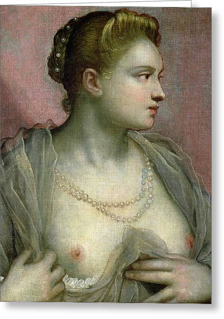 Portrait Of A Woman Revealing Her Breasts Greeting Card by Jacopo Robusti Tintoretto