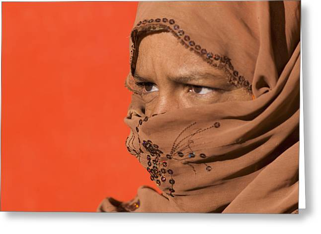 Person Of Color Greeting Cards - Portrait Of A Woman Wearing A Headscarf Greeting Card by Keith Levit