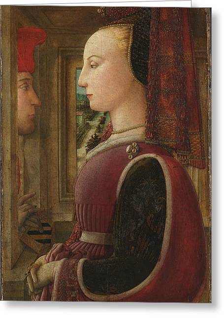 Fra Greeting Cards - Portrait of a Woman with a Man at a Casement Greeting Card by Fra Filippo Lippi