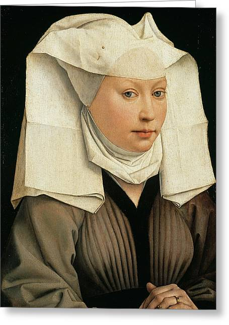 Rogier Van Der Weyden Greeting Cards - Portrait of a Woman with a Winged Bonnet Greeting Card by Rogier van der Weyden