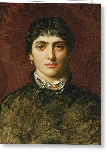 Face Of A Woman Greeting Cards - Portrait of a Woman with Dark Hair Greeting Card by Valentine Cameron Prinsep
