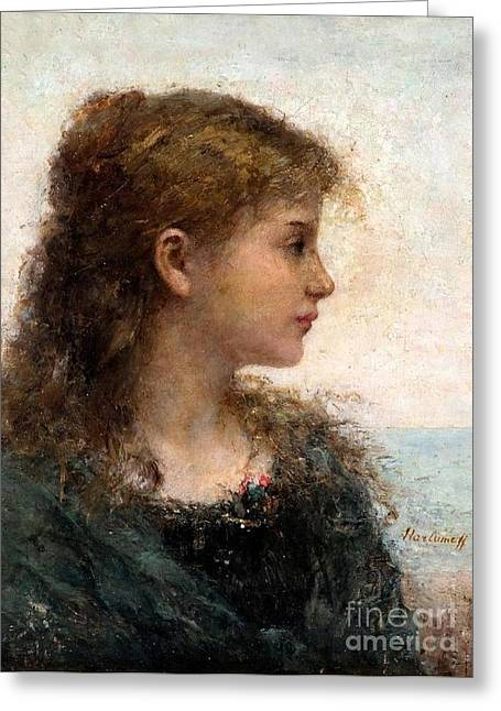 Strength Paintings Greeting Cards - Portrait of a Young Girl Greeting Card by Celestial Images