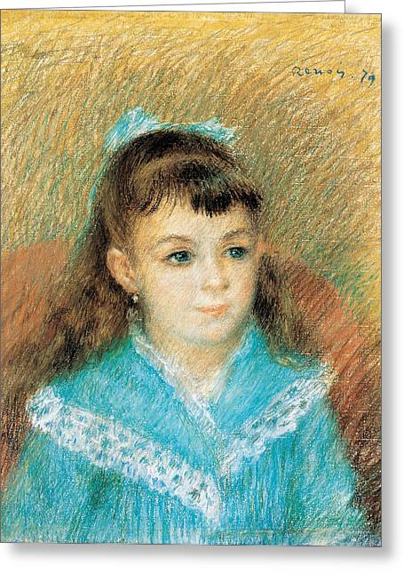 Renoir Drawings Greeting Cards - Portrait of a Young Girl. Elisabeth Maitre Greeting Card by Pierre-Auguste Renoir