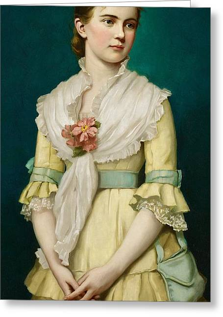 Clasped Greeting Cards - Portrait of a Young Girl Greeting Card by George Chickering Munzig