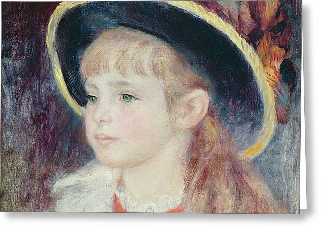 Portrait Of A Young Girl In A Blue Hat, 1881 Oil On Canvas Greeting Card by Pierre Auguste Renoir