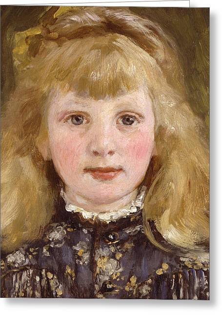 Little Sister Greeting Cards - Portrait of a Young Girl Greeting Card by James Charles