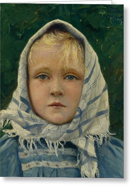 Blonde Girl Photographs Greeting Cards - Portrait of a Young Girl Greeting Card by Paul Gustav Fischer