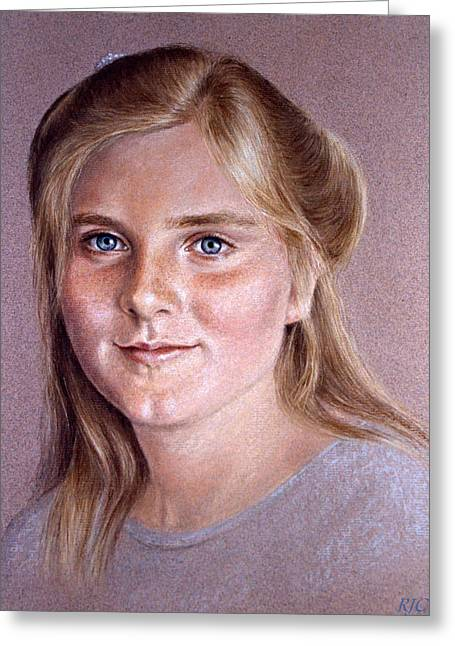 Beauty Pastels Greeting Cards - Portrait Of A Young Girl Greeting Card by Rosemary Colyer