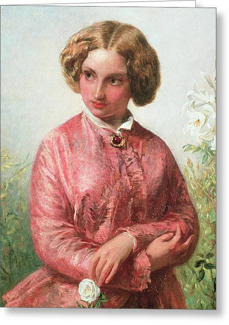 Portrait With Flowers Greeting Cards - Portrait of a young girl with a rose Greeting Card by Abraham Solomon