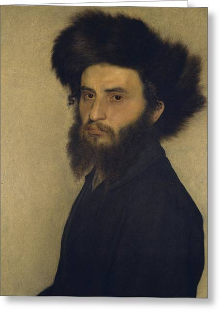 Orthodox Greeting Cards - Portrait of a Young Jewish Man  Greeting Card by Isidor Kaufmann