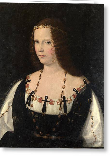 Young Lady Greeting Cards - Portrait of a Young Lady Greeting Card by Bartolomeo Veneto
