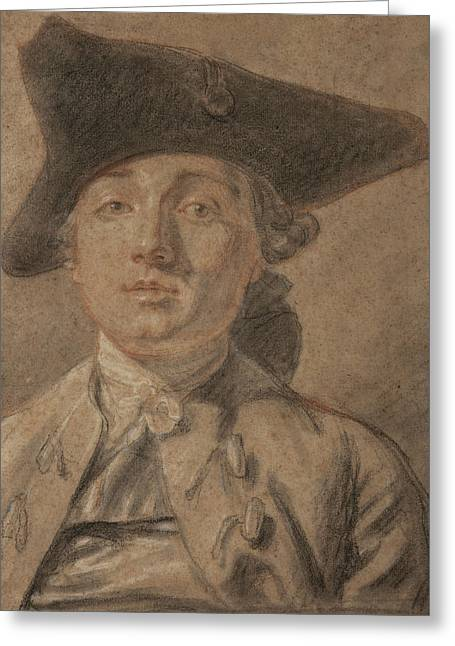 Head Study Pastels Greeting Cards - Portrait of a Young Man Greeting Card by French School