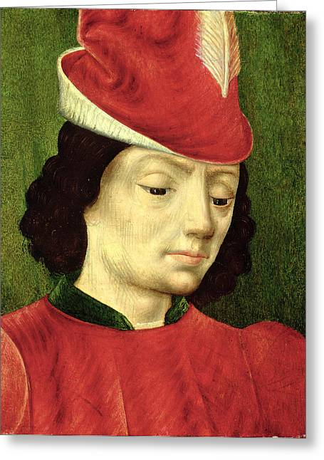 Feather Hat Greeting Cards - Portrait Of A Young Man Greeting Card by Master of Moulins