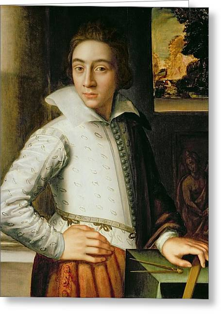 Gestures Greeting Cards - Portrait Of A Young Man, Mid-sixteenth Greeting Card by Florentine School