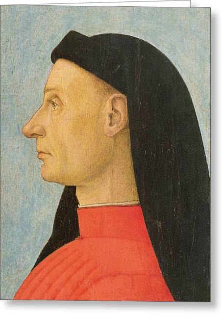 Profile Greeting Cards - Portrait Of A Young Man Oil On Panel Greeting Card by Giovanni Bellini
