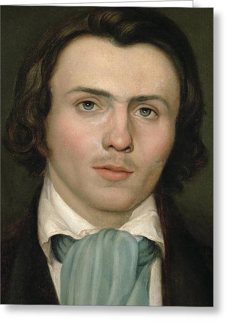 Rudolph Paintings Greeting Cards - Portrait of a young man Greeting Card by Rudolph Friedrich Wasmann