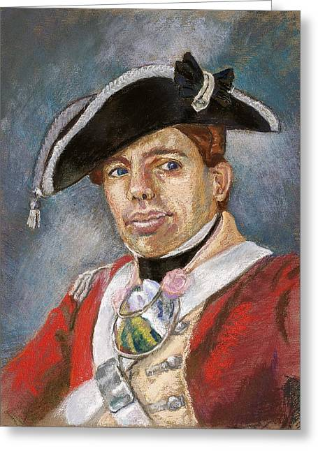 British Portraits Pastels Greeting Cards - Portrait of a Young Officer Greeting Card by Jennifer Richard-Morrow