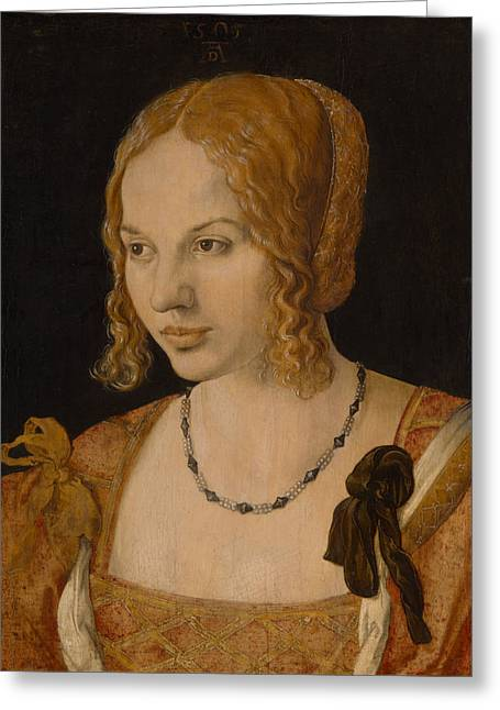 Albrecht Greeting Cards - Portrait of a Young Venetian Woman Greeting Card by Albrecht Durer