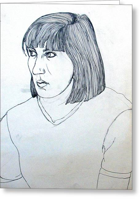 T Shirts Drawings Greeting Cards - Portrait of a Young Woman Greeting Card by Anita Dale Livaditis