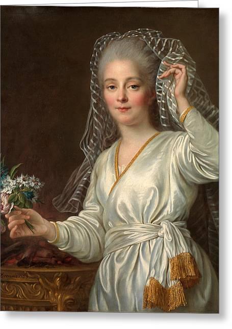 Vestal Greeting Cards - Portrait of a Young Woman as a Vestal Virgin Greeting Card by Francois-Hubert Drouais