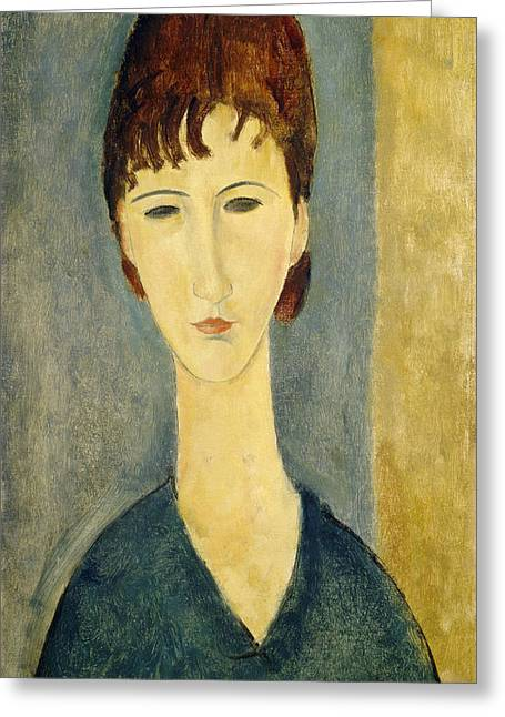 Distortion Paintings Greeting Cards - Portrait Of A Young Woman, C.1918 Greeting Card by Amedeo Modigliani