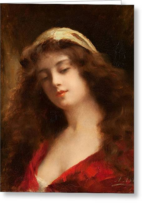 Asti Greeting Cards - Portrait of a Young Woman in Red Greeting Card by Angelo Asti