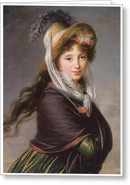Woman With Long Hair Greeting Cards - Portrait of a Young Woman Greeting Card by Marie Louise Elisabeth Vigee-Le Brun