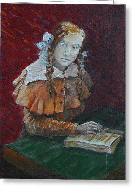 Schoolgirl Paintings Greeting Cards - Portrait of a Young Woman Greeting Card by Vita Schagen