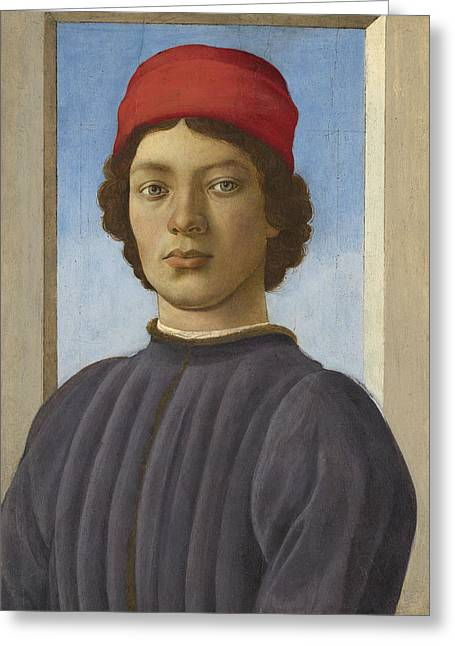 Collar Greeting Cards - Portrait of a Youth Greeting Card by  Filippino Lippi