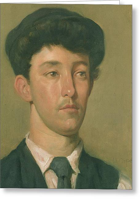 Portrait Of A Young Boy Greeting Cards - Portrait of a Youth Greeting Card by Sir William Orpen