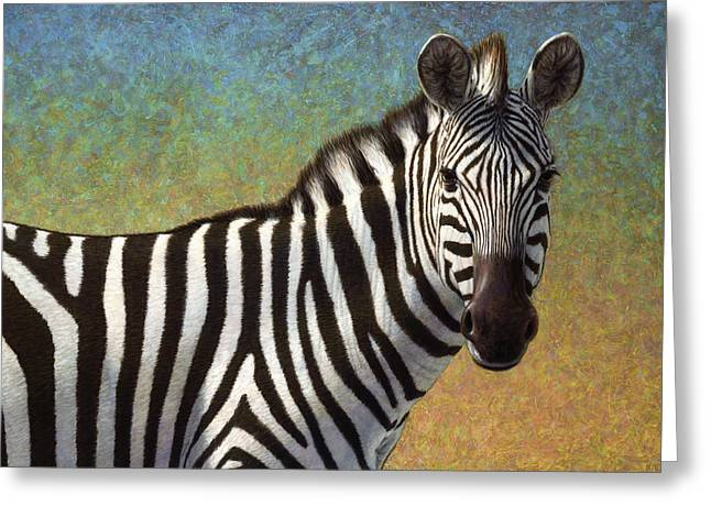 Zebras Greeting Cards - Portrait of a Zebra Greeting Card by James W Johnson