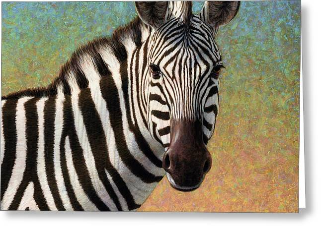 James Paintings Greeting Cards - Portrait of a Zebra - Square Greeting Card by James W Johnson