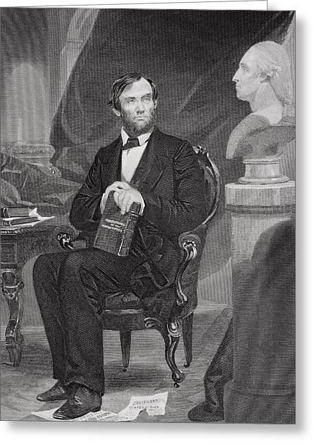 Pensive Drawings Greeting Cards - Portrait of Abraham Lincoln Greeting Card by Alonzo Chappel