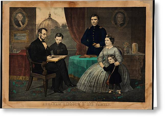 Kelly Greeting Cards - Portrait of Abraham Lincoln and his family Greeting Card by Celestial Images