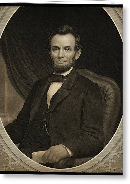 Slavery Greeting Cards - Portrait of Abraham Lincoln Greeting Card by Celestial Images