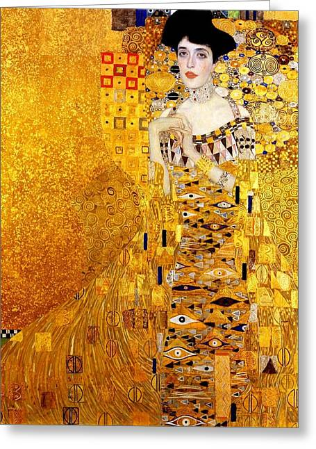 Adele Paintings Greeting Cards - Portrait Of Adele Bloch-Bauer Greeting Card by Gustav Klimt