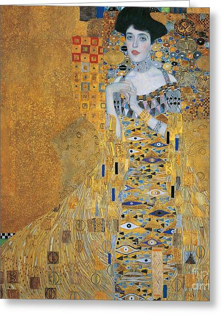 Stylish Paintings Greeting Cards - Portrait of Adele Bloch-Bauer I Greeting Card by Gustav Klimt