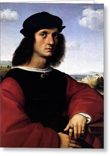 Palatina Greeting Cards - Portrait of Agnolo Doni Greeting Card by Raffaello Sanzio