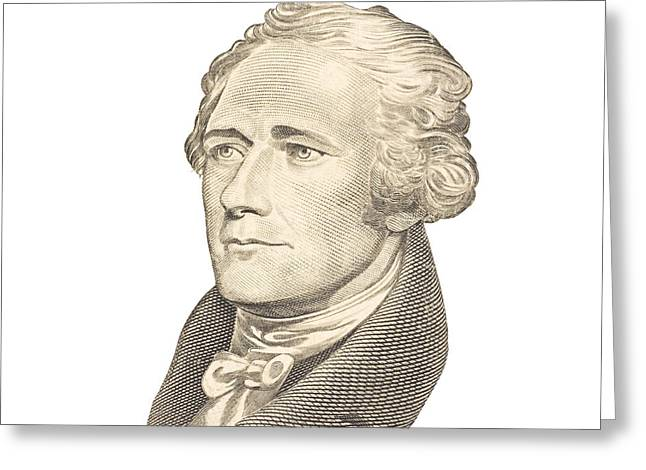 Etching Digital Greeting Cards - Portrait of Alexander Hamilton on White Background Greeting Card by Keith Webber Jr