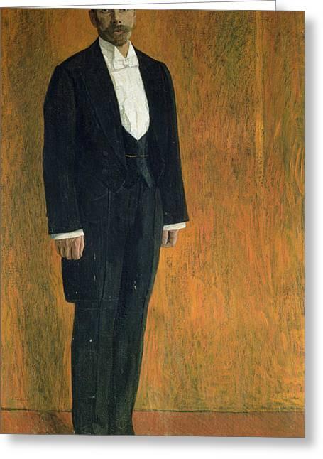 Tuxedo Greeting Cards - Portrait Of Alexander Skryabin 1872-1915 Gouache & Pastel On Cardboard Greeting Card by Aleksandr Jakovlevic Golovin