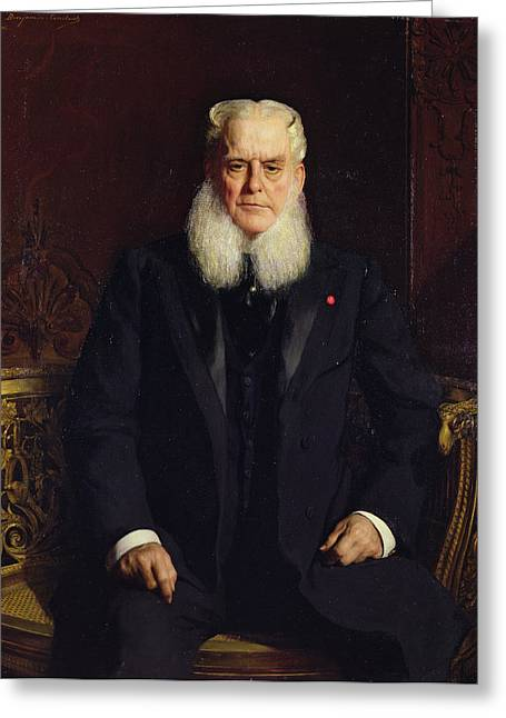 Sideburns Greeting Cards - Portrait Of Alfred Chauchard 1821-1909 1896 Oil On Canvas Greeting Card by Constant