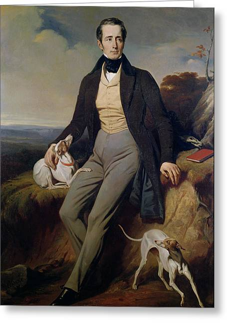 Greyhound Photographs Greeting Cards - Portrait Of Alphonse De Lamartine 1790-1869 1830 Oil On Canvas Greeting Card by Henri Decaisne