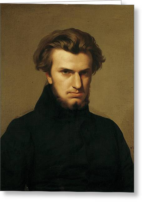Portrait Of Ambroise Thomas 1811-96 1834 Oil On Canvas Greeting Card by Hippolyte Flandrin
