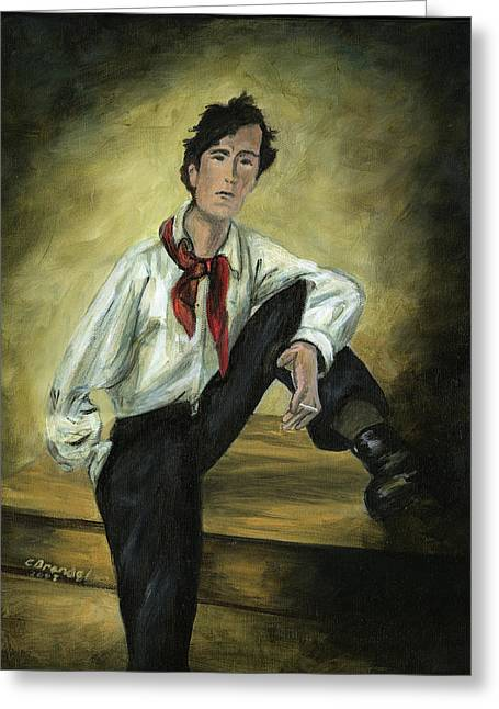 Photograph Of Artist Paintings Greeting Cards - Portrait of Amedeo Modigliani Greeting Card by Cecilia  Brendel