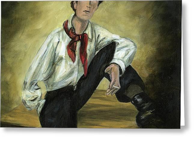 Portrait of Amedeo Modigliani Greeting Card by Cecilia  Brendel