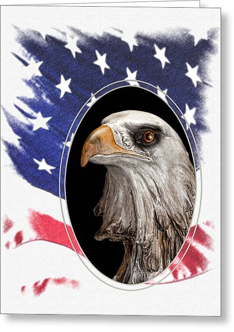 Eagle And Flag Greeting Cards - Portrait of America Greeting Card by Tom Mc Nemar