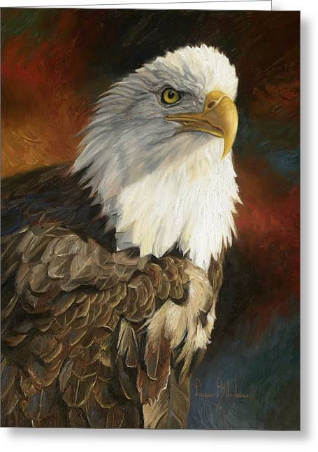 Eagle Greeting Cards - Portrait Of An Eagle Greeting Card by Lucie Bilodeau