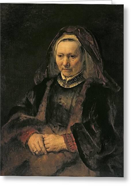 Portrait Of An Elderly Woman, C. 1650 Greeting Card by Rembrandt Harmensz. van Rijn